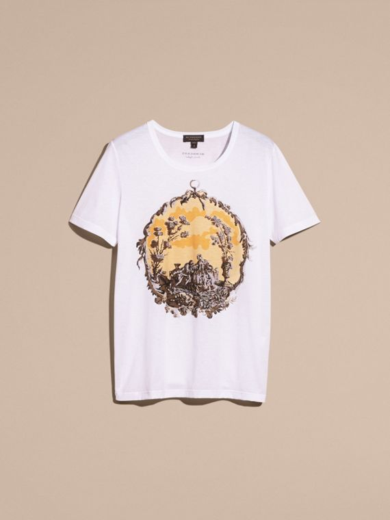 White Wallpaper Print Cotton T-shirt - cell image 3