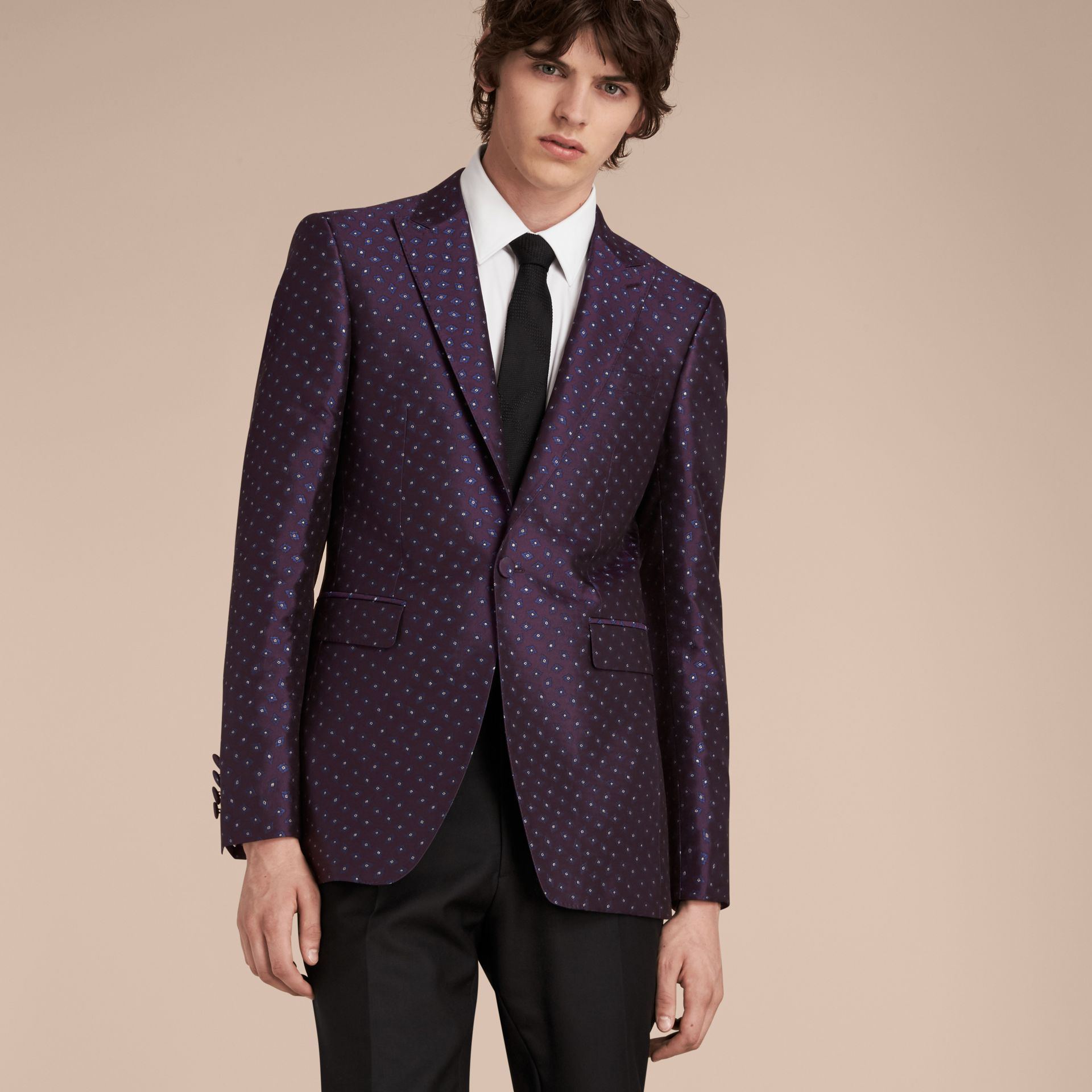 Deep aubergine Slim Fit Geometric Silk Jacquard Tailored Jacket - gallery image 7