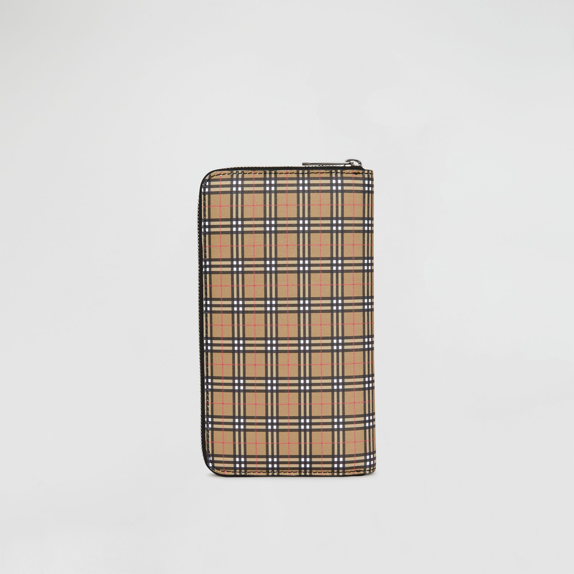 Small Scale Check and Leather Ziparound Wallet in Antique Yellow/black - Men | Burberry United States - gallery image 5
