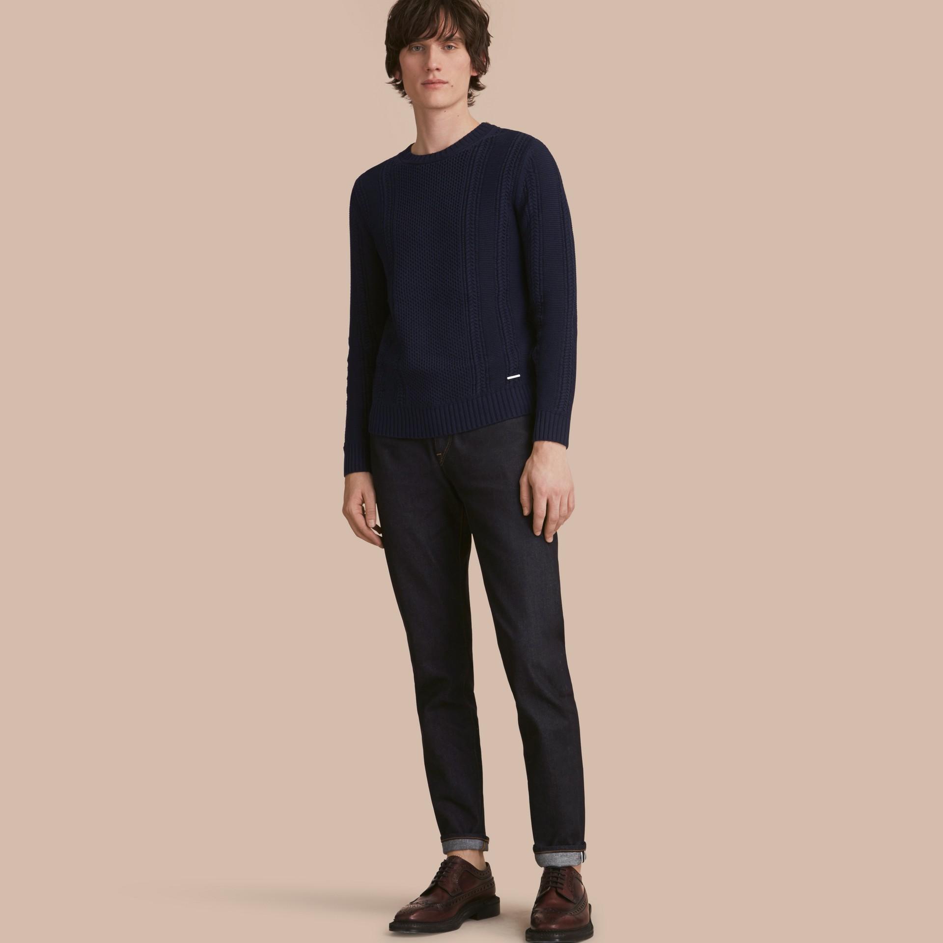 Zip Detail Aran Knit Cotton Sweater - gallery image 1