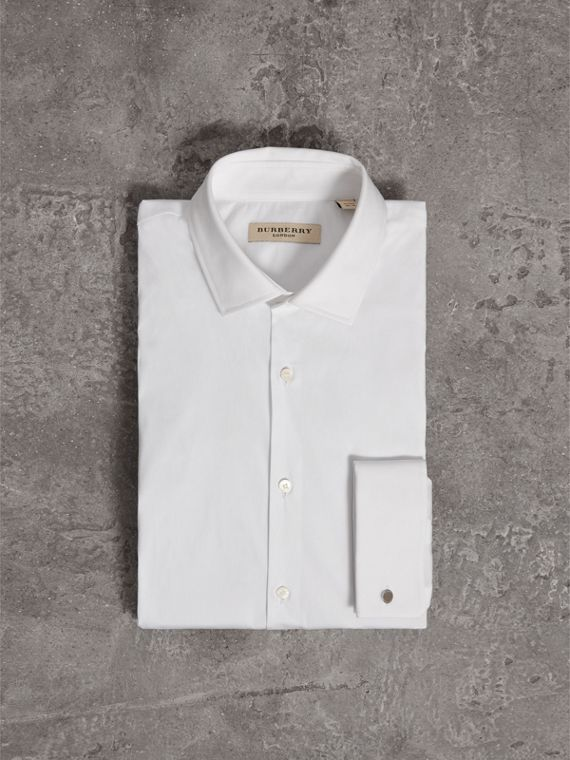 Modern Fit Double-cuff Stretch-cotton Shirt in White