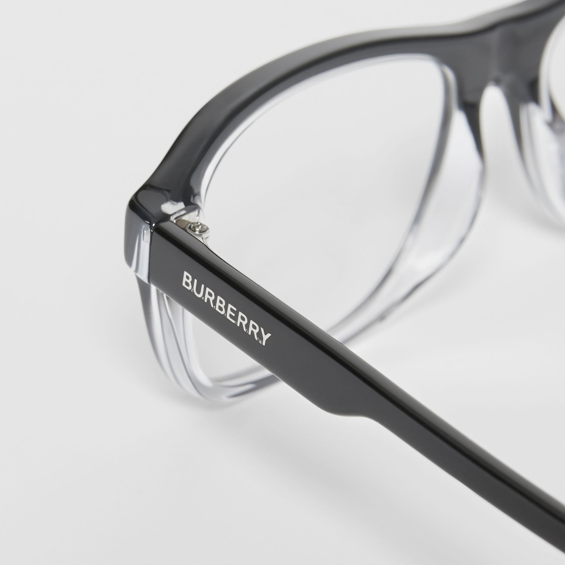 Gradient Detail Rectangular Optical Frames in Black - Men | Burberry Australia - gallery image 1