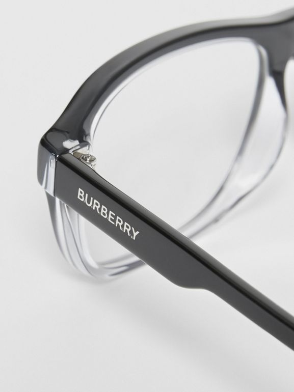 Gradient Detail Rectangular Optical Frames in Black - Men | Burberry - cell image 1