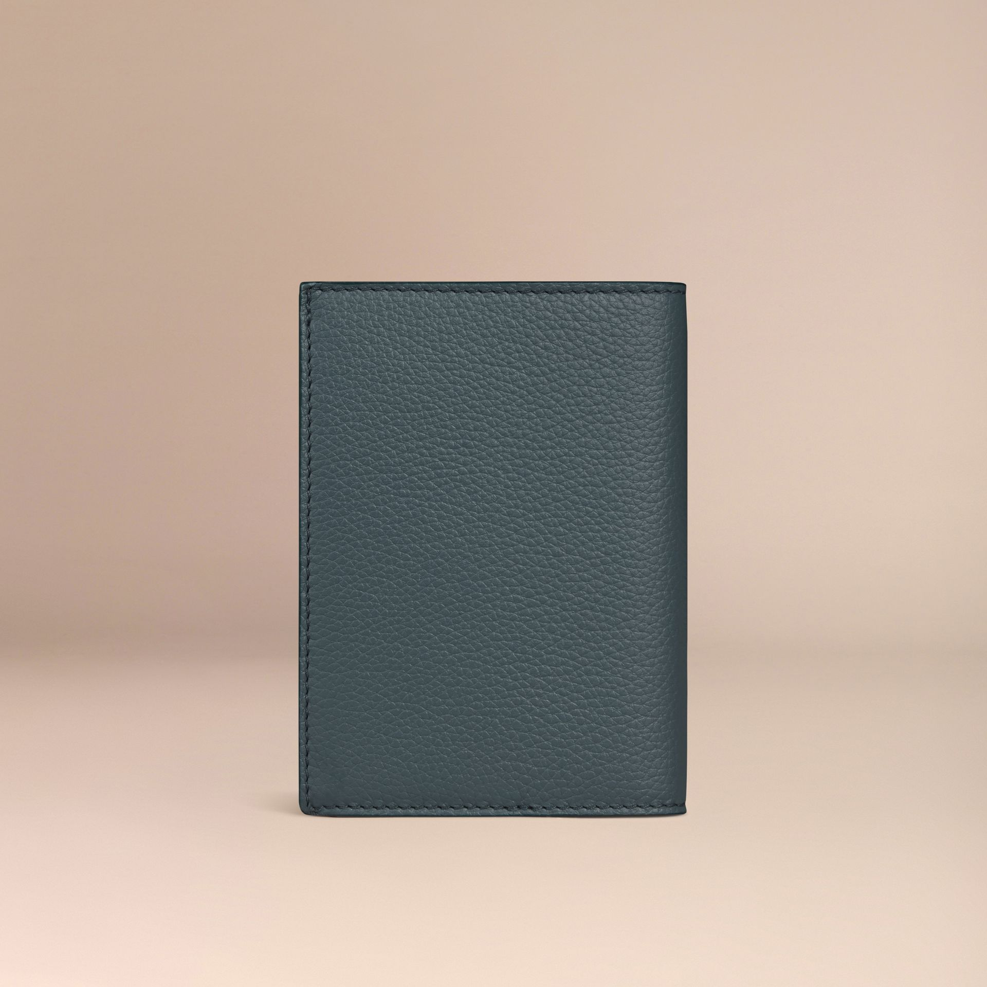 Grainy Leather Passport Cover in Dusty Teal | Burberry United Kingdom - gallery image 3