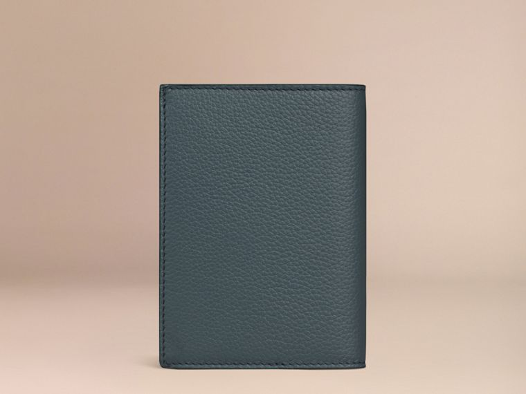 Grainy Leather Passport Cover in Dusty Teal | Burberry - cell image 2