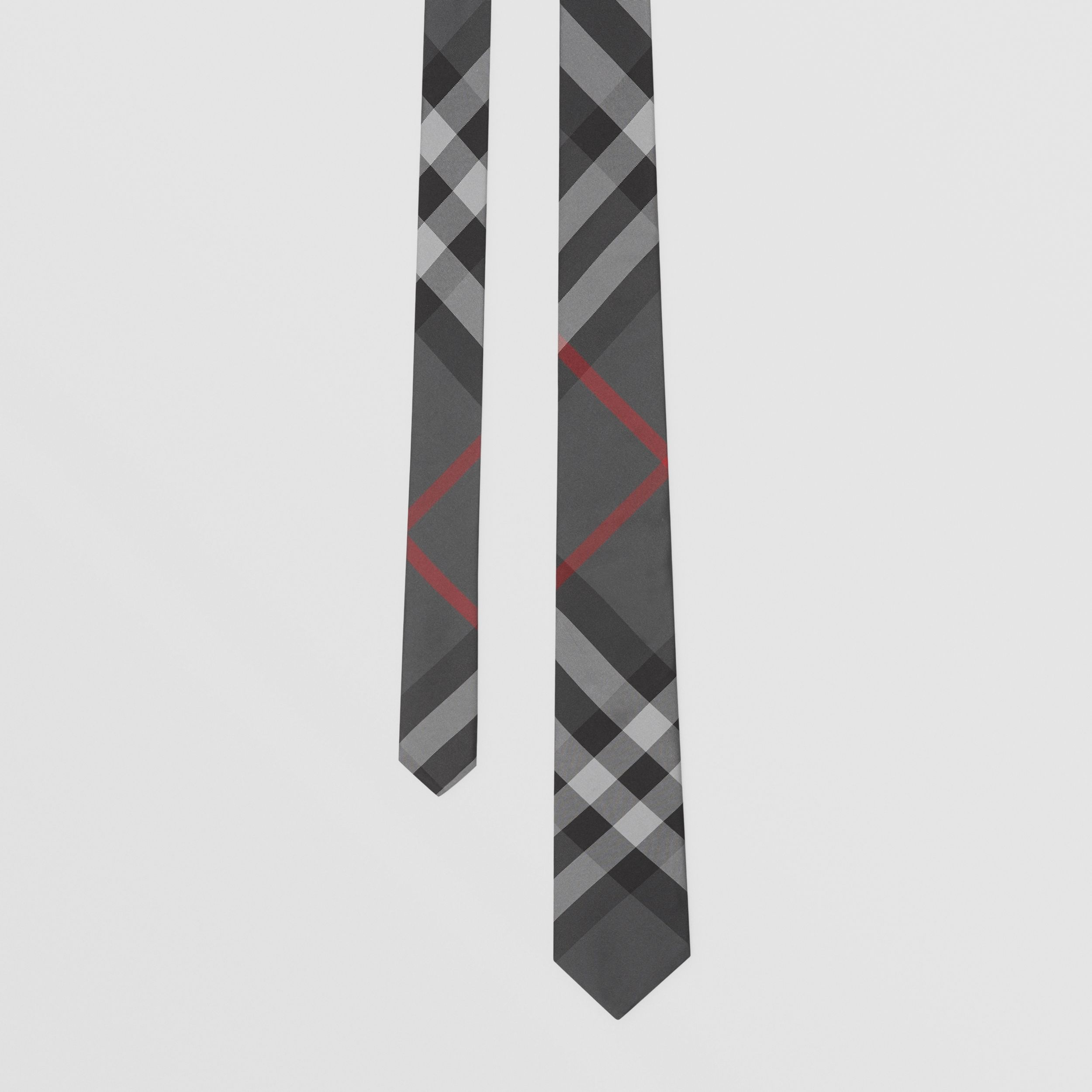 Classic Cut Check Silk Tie in Charcoal - Men | Burberry - 1