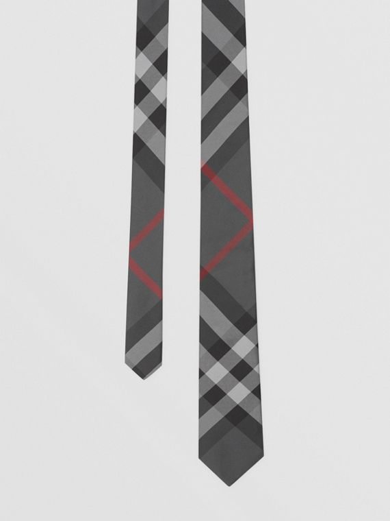 Classic Cut Check Silk Tie in Charcoal