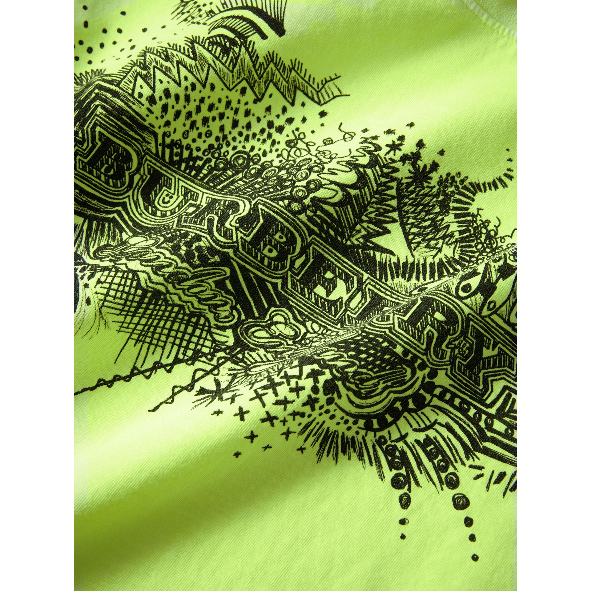 Doodle Print Cotton T-shirt in Bright Lemon | Burberry - gallery image 1