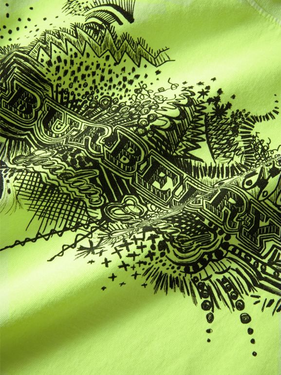Doodle Print Cotton T-shirt in Bright Lemon | Burberry - cell image 1