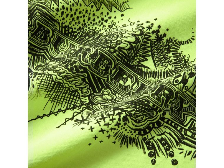 Doodle Print Cotton T-shirt in Bright Lemon - Boy | Burberry - cell image 1