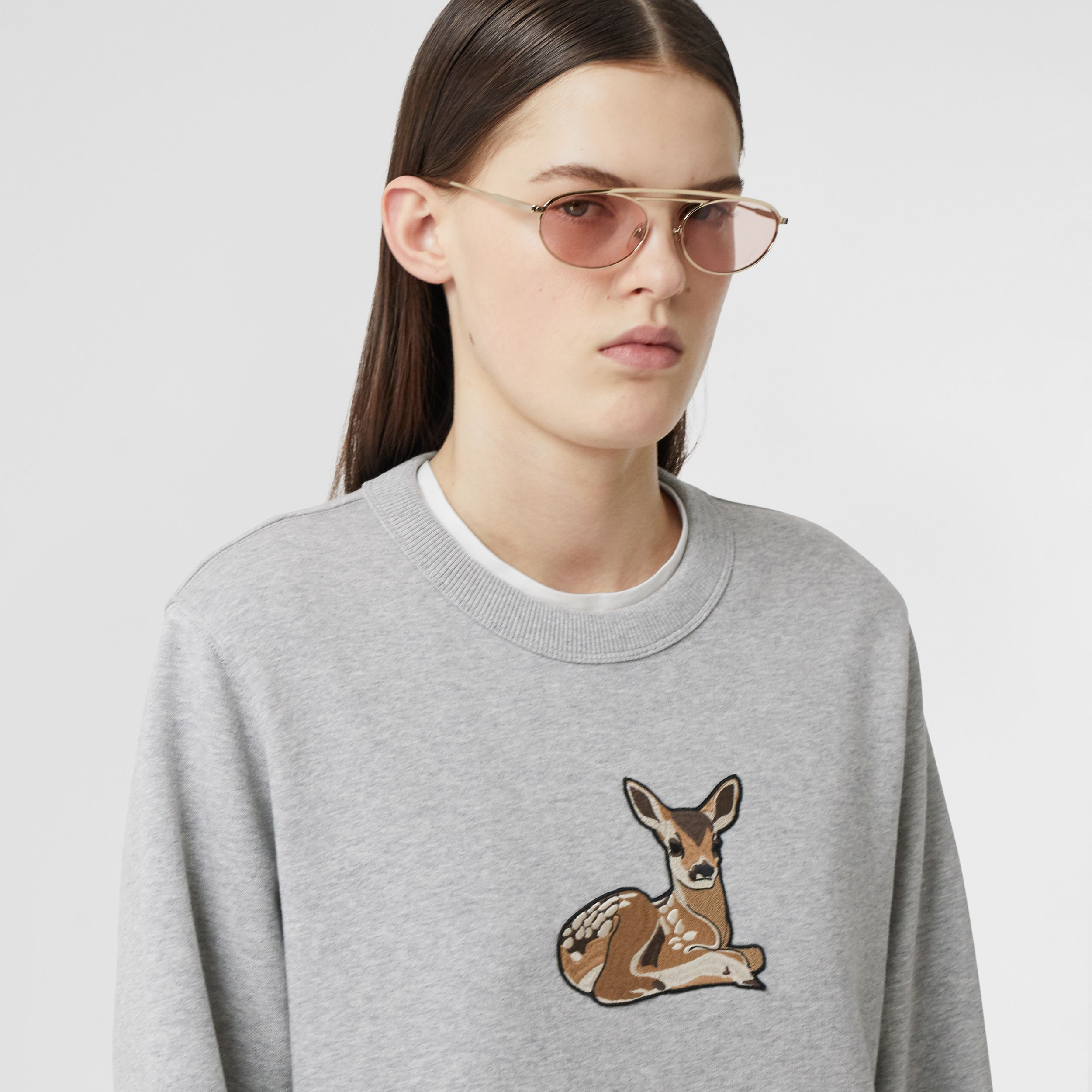 Deer Motif Cotton Oversized Sweatshirt in Pale Grey Melange - Women | Burberry - 2
