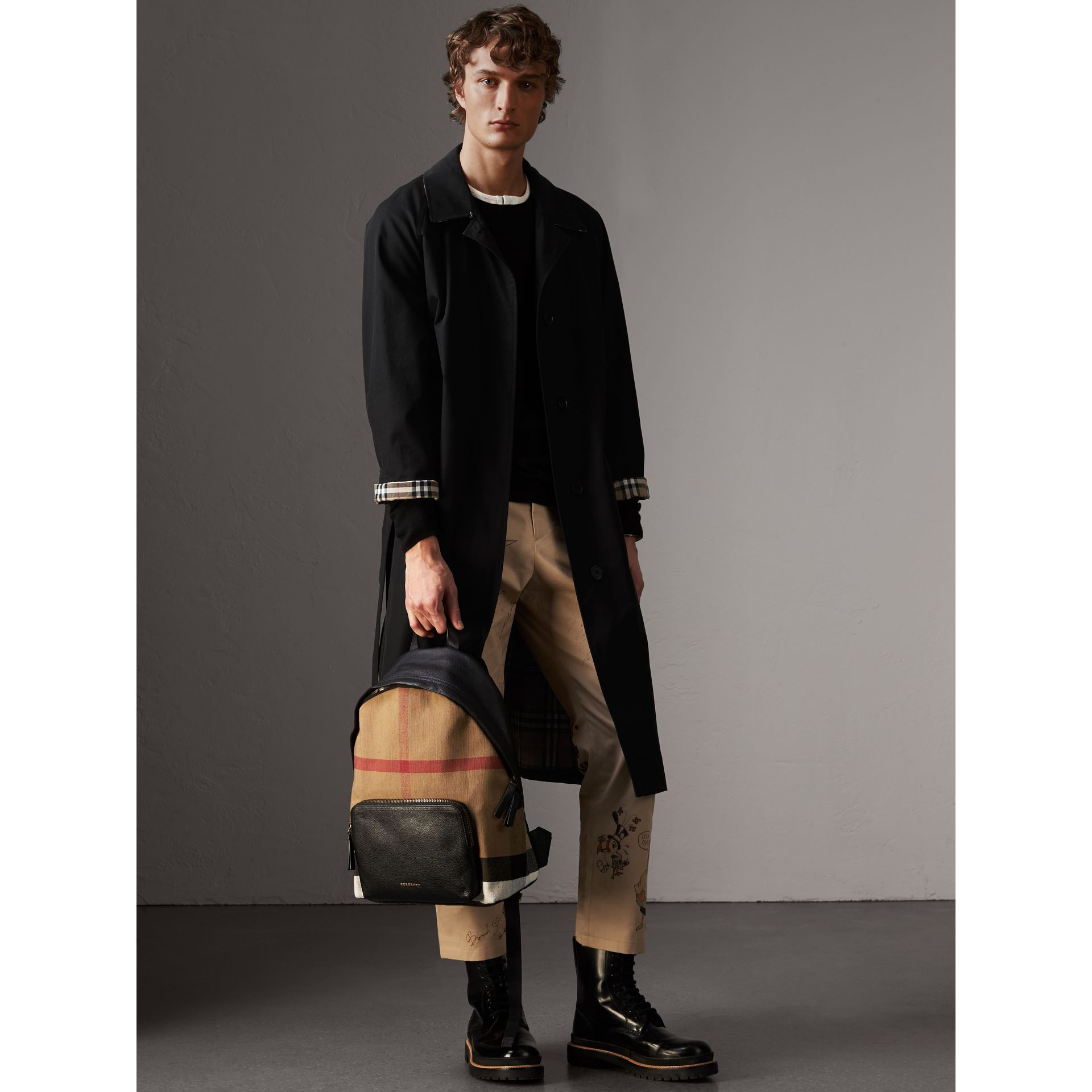 Canvas Check and Leather Backpack in Black - Men | Burberry - gallery image 2