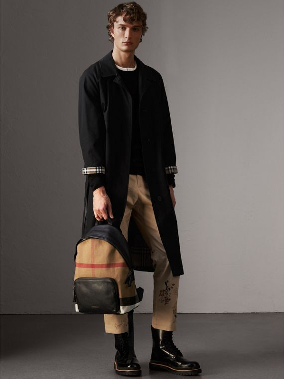 Canvas Check and Leather Backpack in Black - Men | Burberry - cell image 2