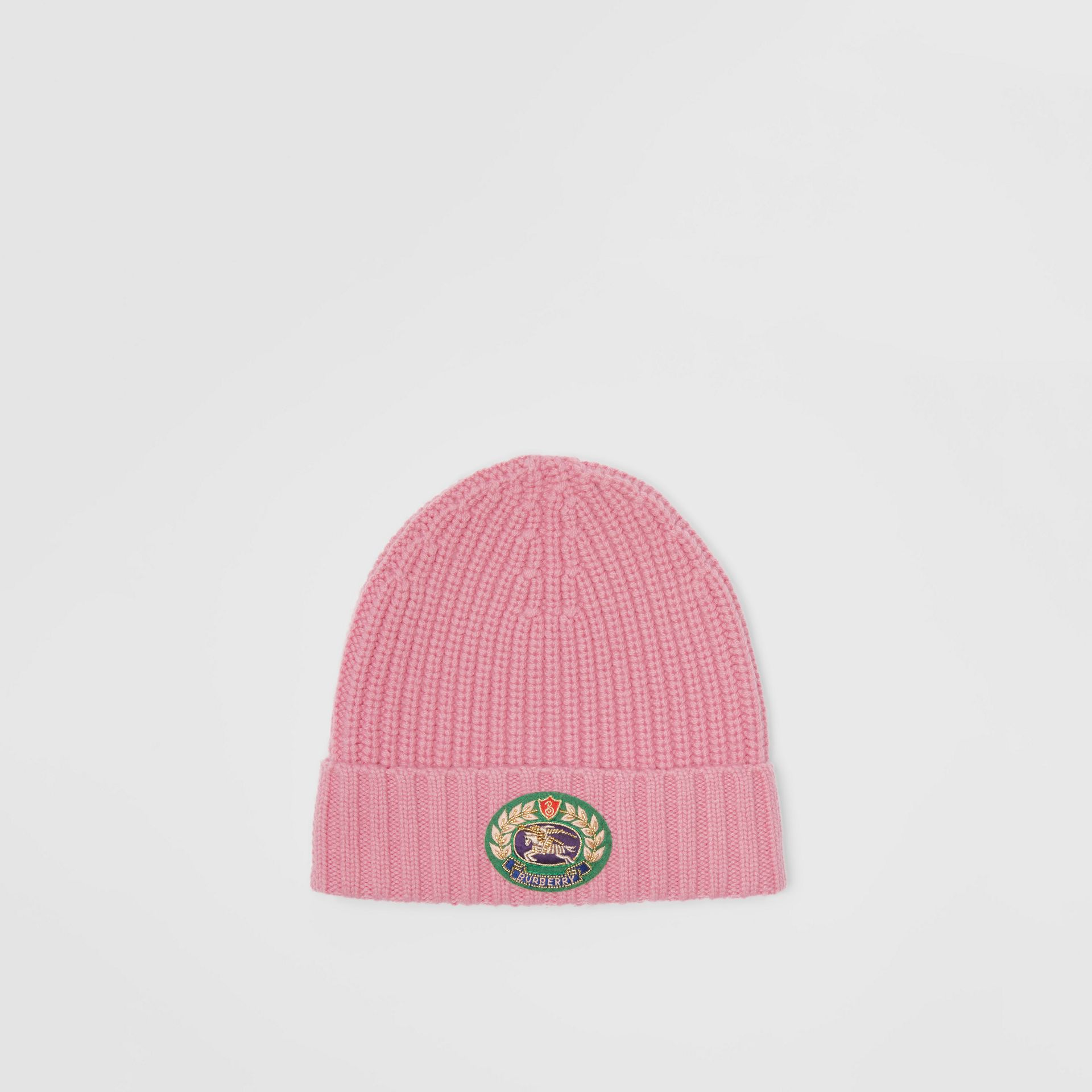 Embroidered Crest Rib Knit Wool Cashmere Beanie in Rose Pink | Burberry United Kingdom - gallery image 0