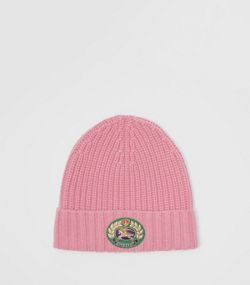 Embroidered Crest Rib Knit Wool Cashmere Beanie in Rose Pink 51148a92719