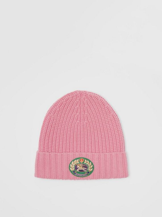 Embroidered Crest Rib Knit Wool Cashmere Beanie in Rose Pink