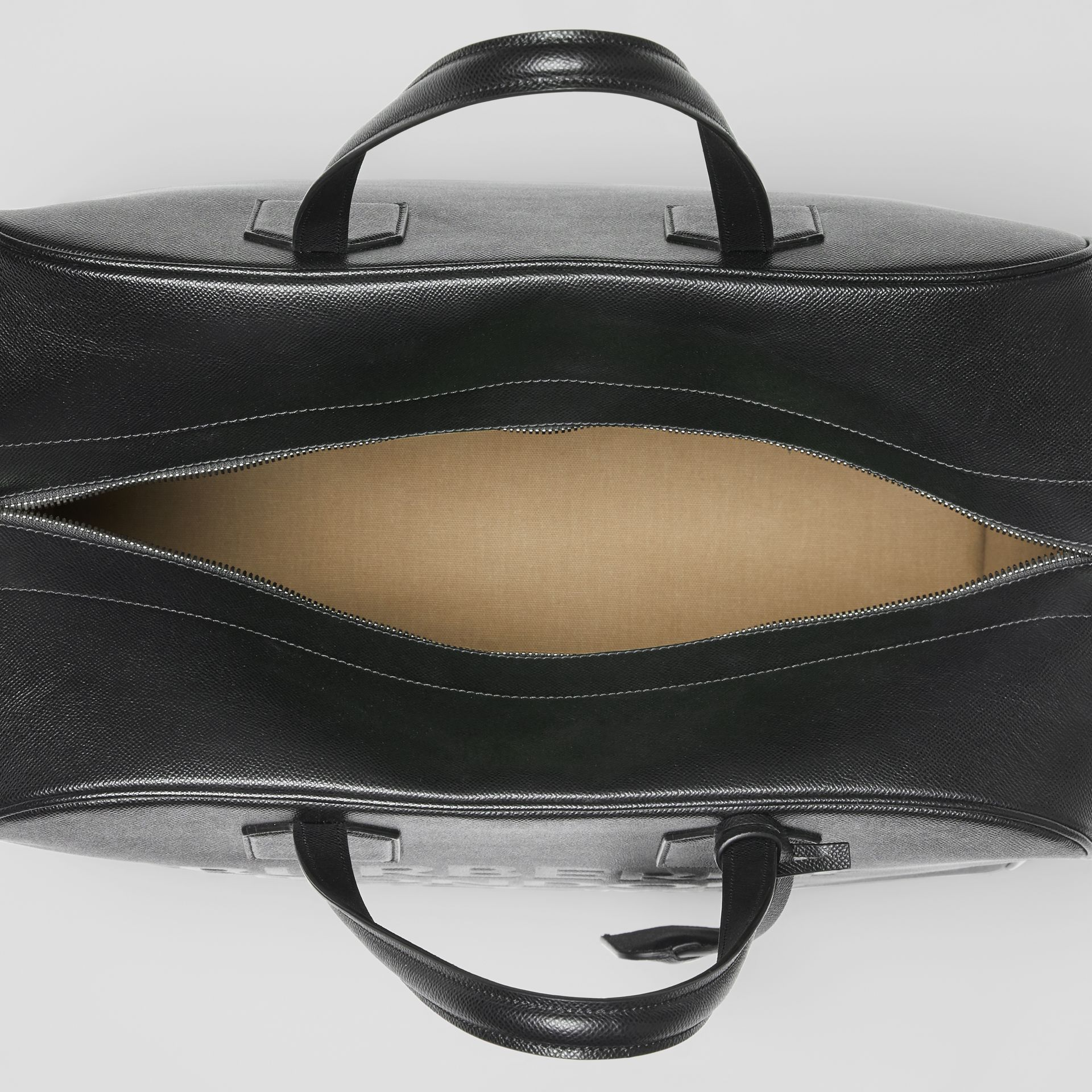 Logo Embossed Leather Holdall in Black | Burberry United Kingdom - gallery image 4