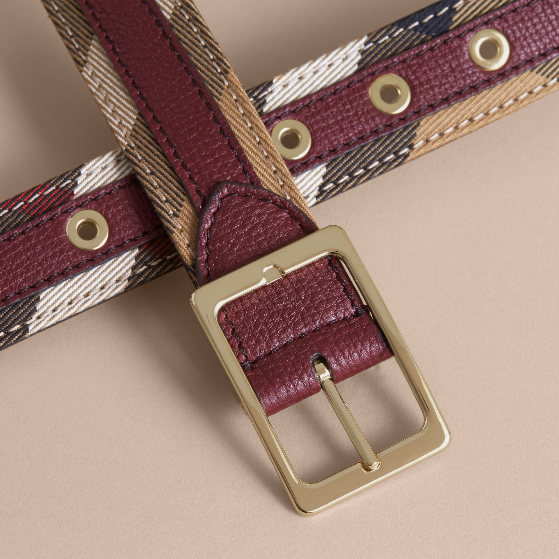 House Check and Grainy Leather Belt Camel/mahogany Red - gallery image 2