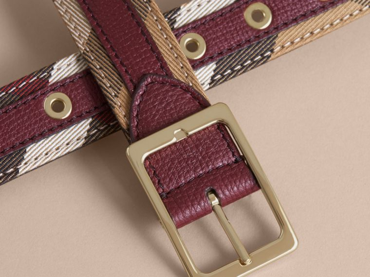 House Check and Grainy Leather Belt in Camel/mahogany Red - Women | Burberry - cell image 1