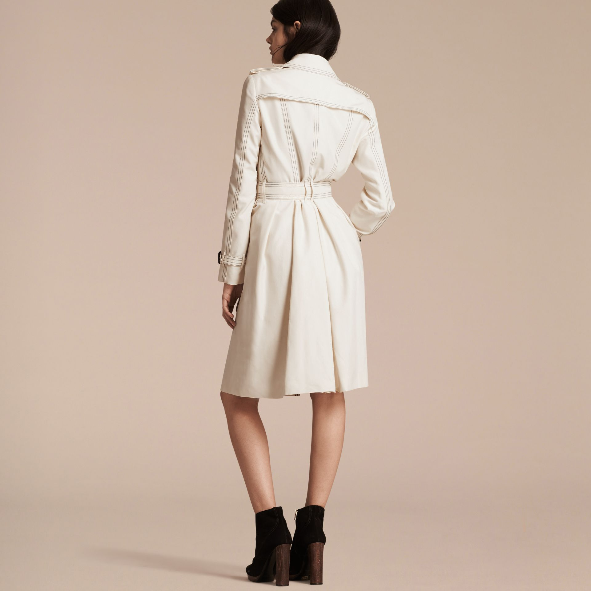 Parchment Silk Trench Coat with Topstitch Detail - gallery image 3