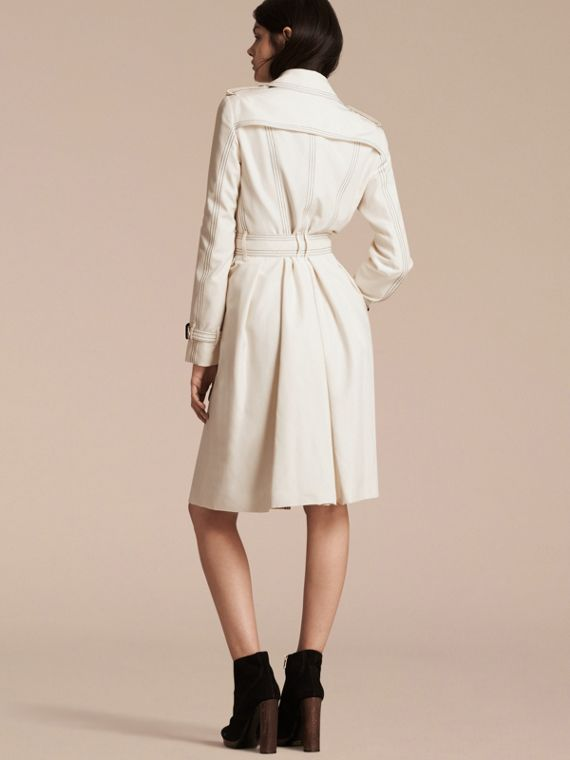 Parchment Silk Trench Coat with Topstitch Detail - cell image 2