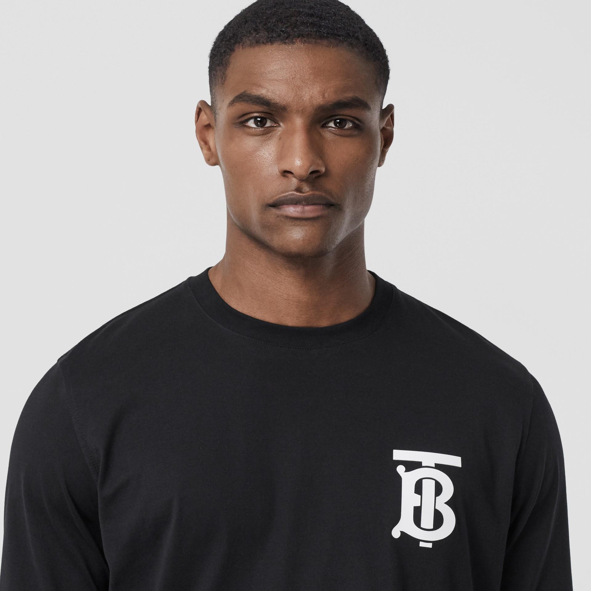 Long-sleeve Monogram Motif Cotton Top in Black - Men | Burberry - gallery image 1