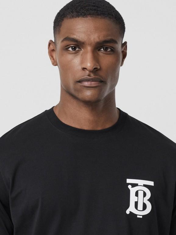 Long-sleeve Monogram Motif Cotton Top in Black - Men | Burberry - cell image 1