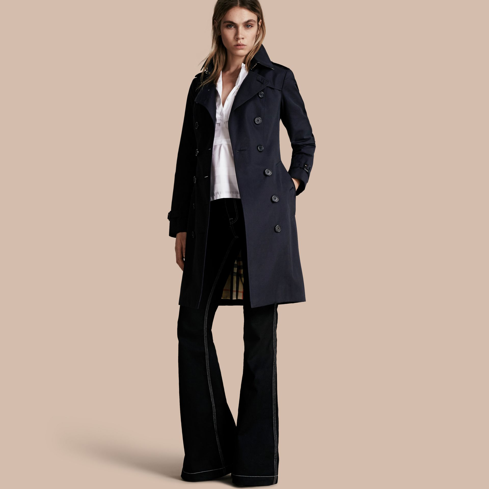 Navy The Sandringham  – Long Heritage Trench Coat Navy - gallery image 1
