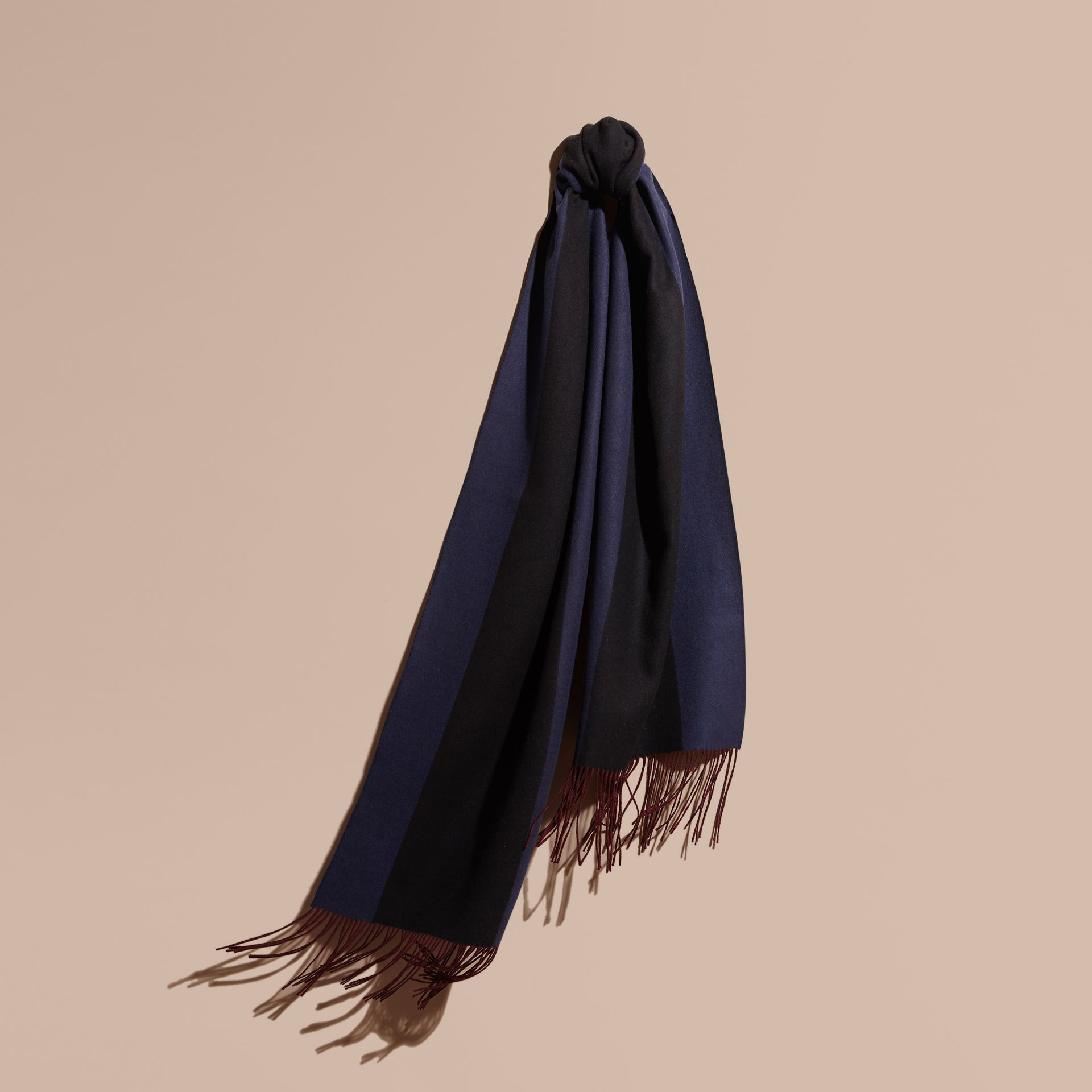 Navy Oversize Striped Cashmere Scarf Navy - gallery image 1