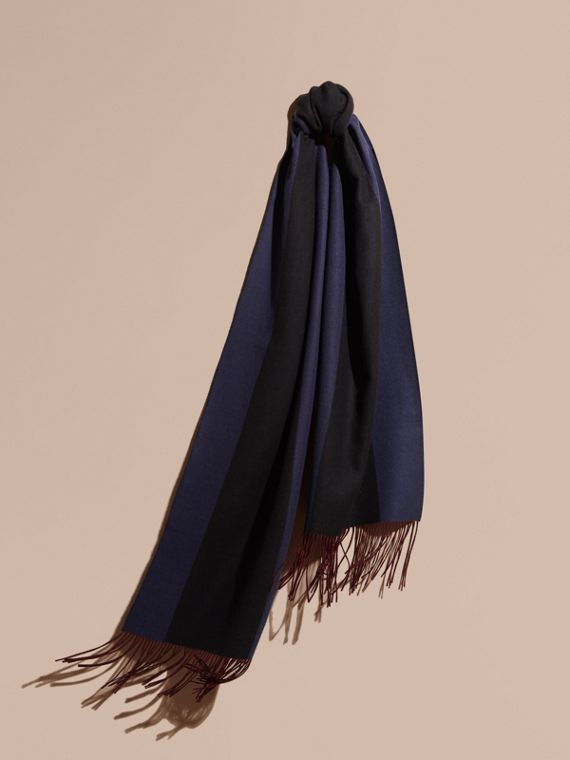 Oversize Striped Cashmere Scarf Navy