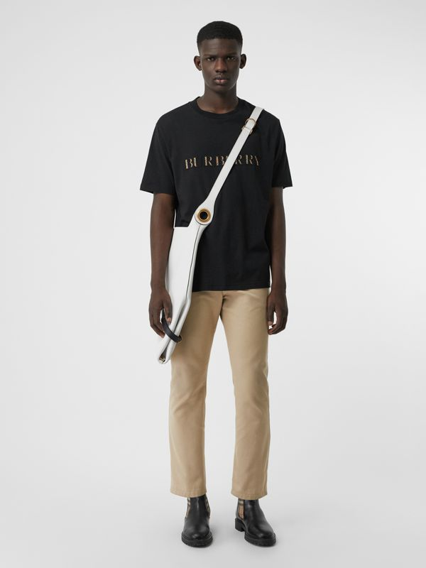Check Logo Cotton T-shirt in Black - Men | Burberry Singapore - cell image 3