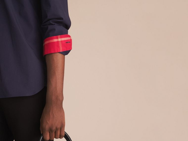 Resin Button Cotton Poplin Shirt Navy - cell image 4