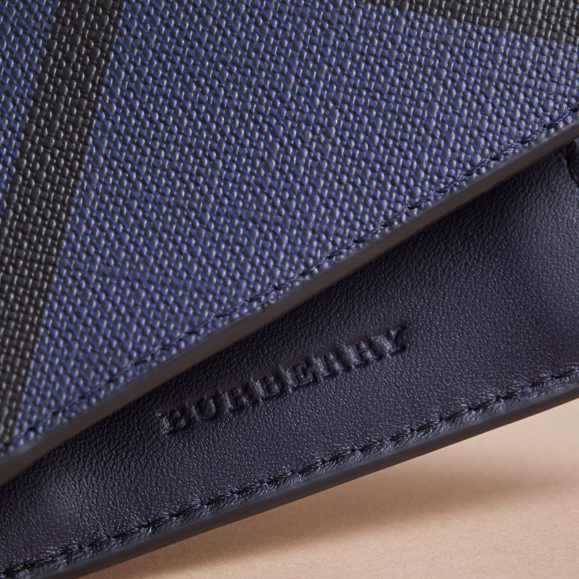 London Check Bifold Wallet with Coin Compartment in Bright Lapis - Men | Burberry - gallery image 2