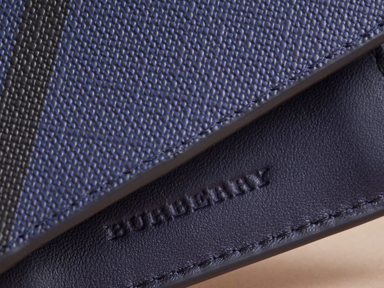 London Check Bifold Wallet with Coin Compartment in Bright Lapis - Men | Burberry - cell image 1
