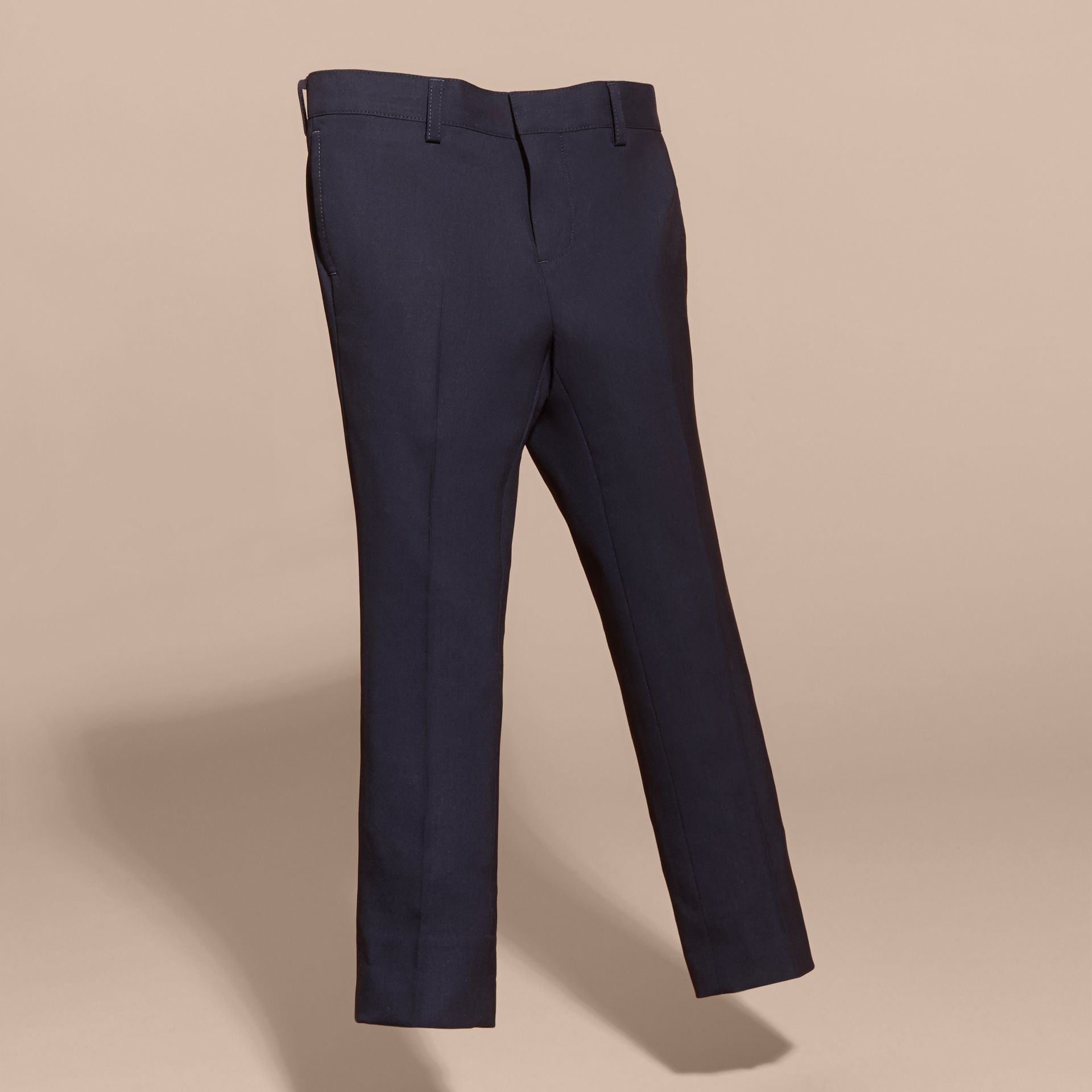Navy Tailored Wool Trousers Navy - gallery image 3