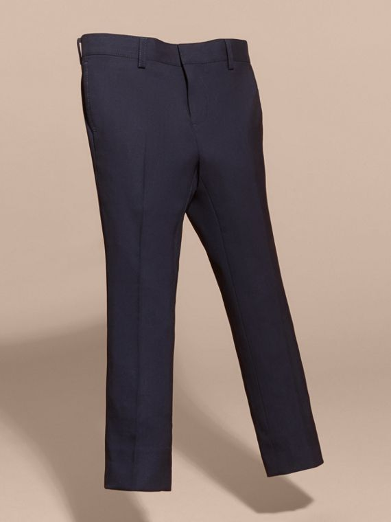 Tailored Wool Trousers in Navy - Boy | Burberry - cell image 2