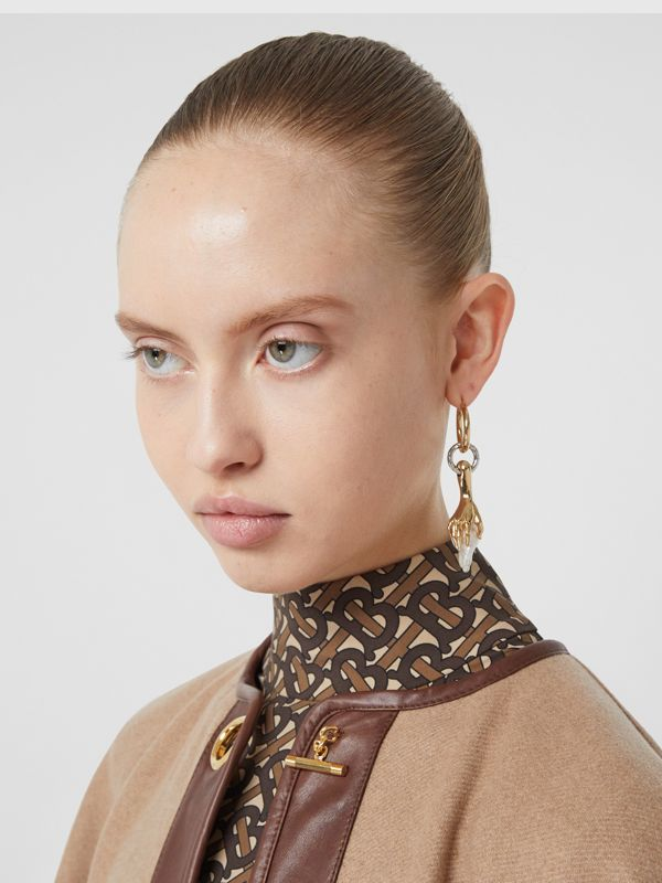 Faux Pearl Detail Gold-plated Hoop Earring in Light Gold/white - Women | Burberry United States - cell image 2