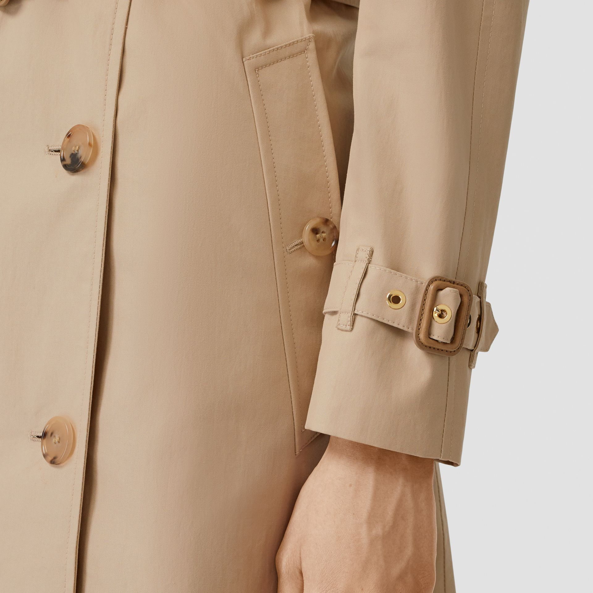 Detachable Collar Cotton Gabardine Trench Coat in Ecru - Women | Burberry United Kingdom - gallery image 4