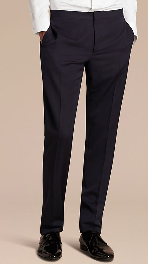 Navy Virgin Wool Tuxedo Trousers Navy - Image 2
