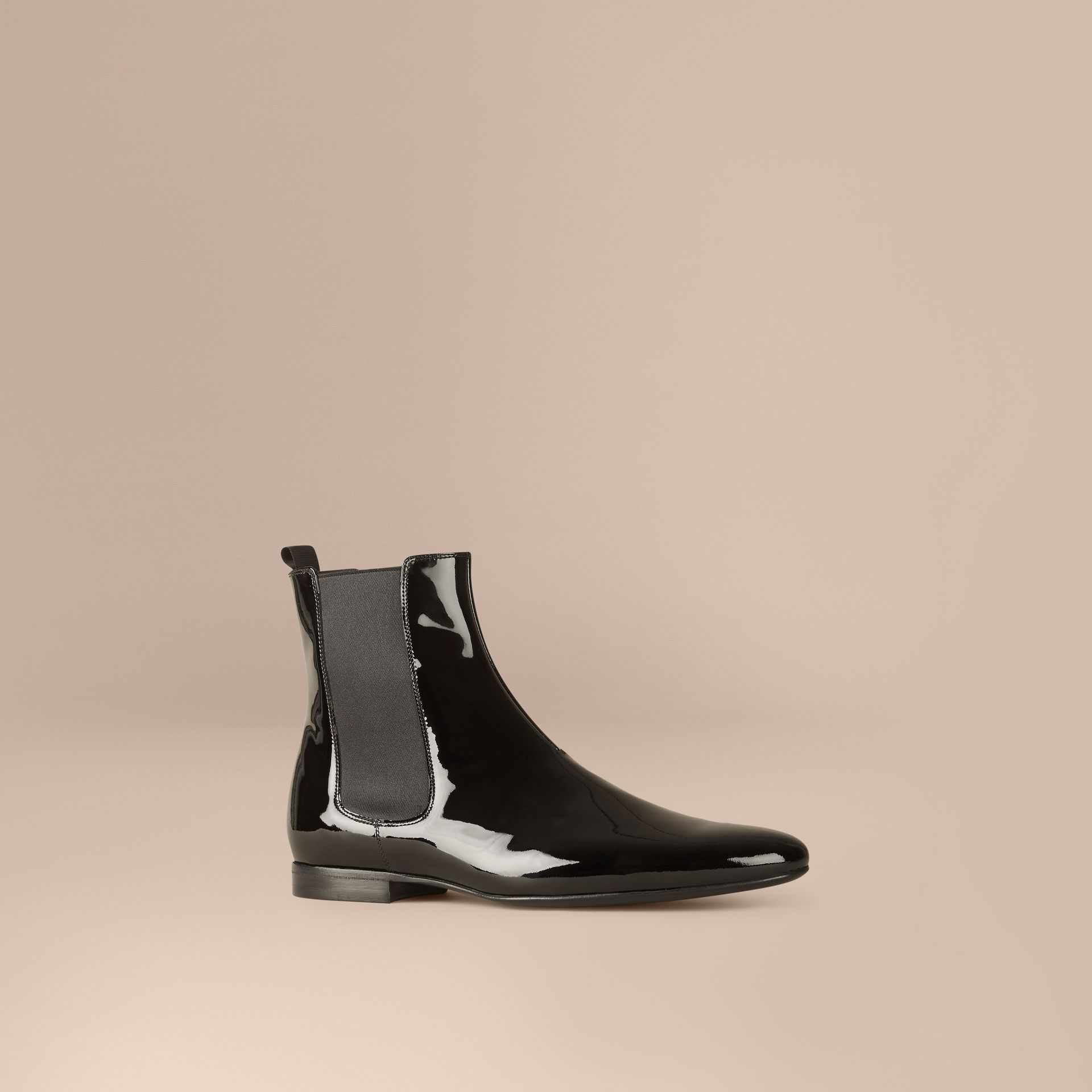 Black Patent Leather Chelsea Boots - gallery image 1