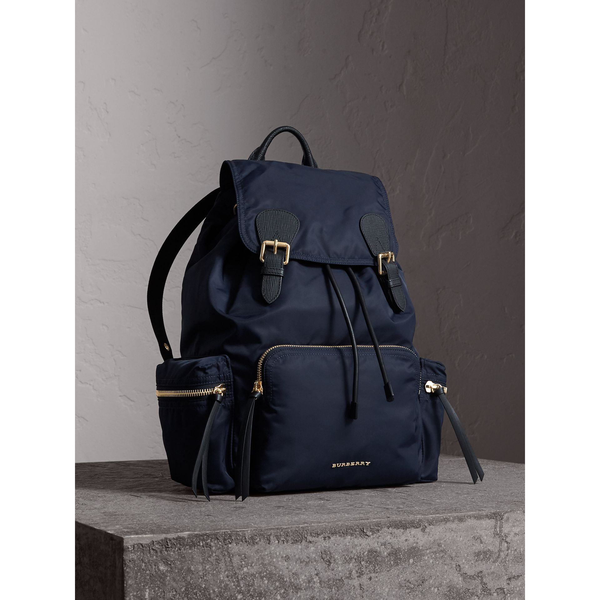 The Large Rucksack in Technical Nylon and Leather in Ink Blue - Women | Burberry United States - gallery image 0