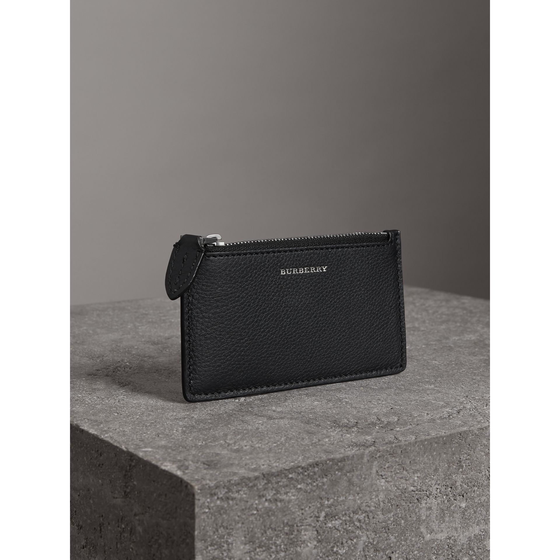 Two-tone Leather Zip Card Case in Black | Burberry Canada - gallery image 4