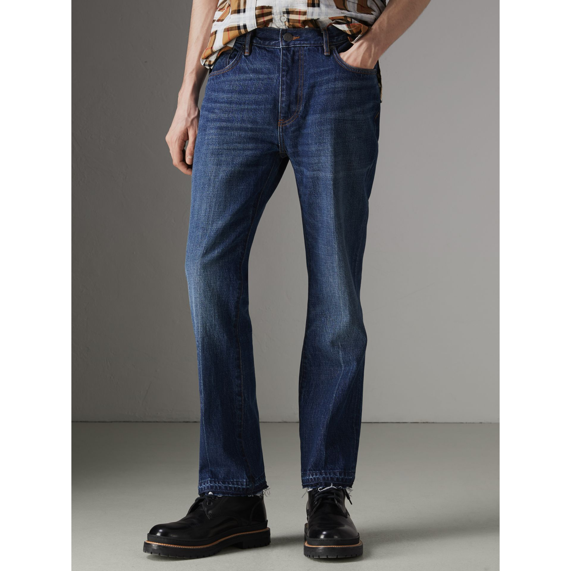 Slim Fit Bootcut Jeans in Indigo Blue - Men | Burberry United Kingdom - gallery image 5