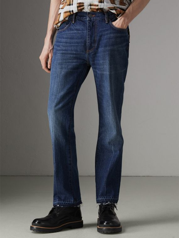 Slim Fit Bootcut Jeans in Indigo Blue
