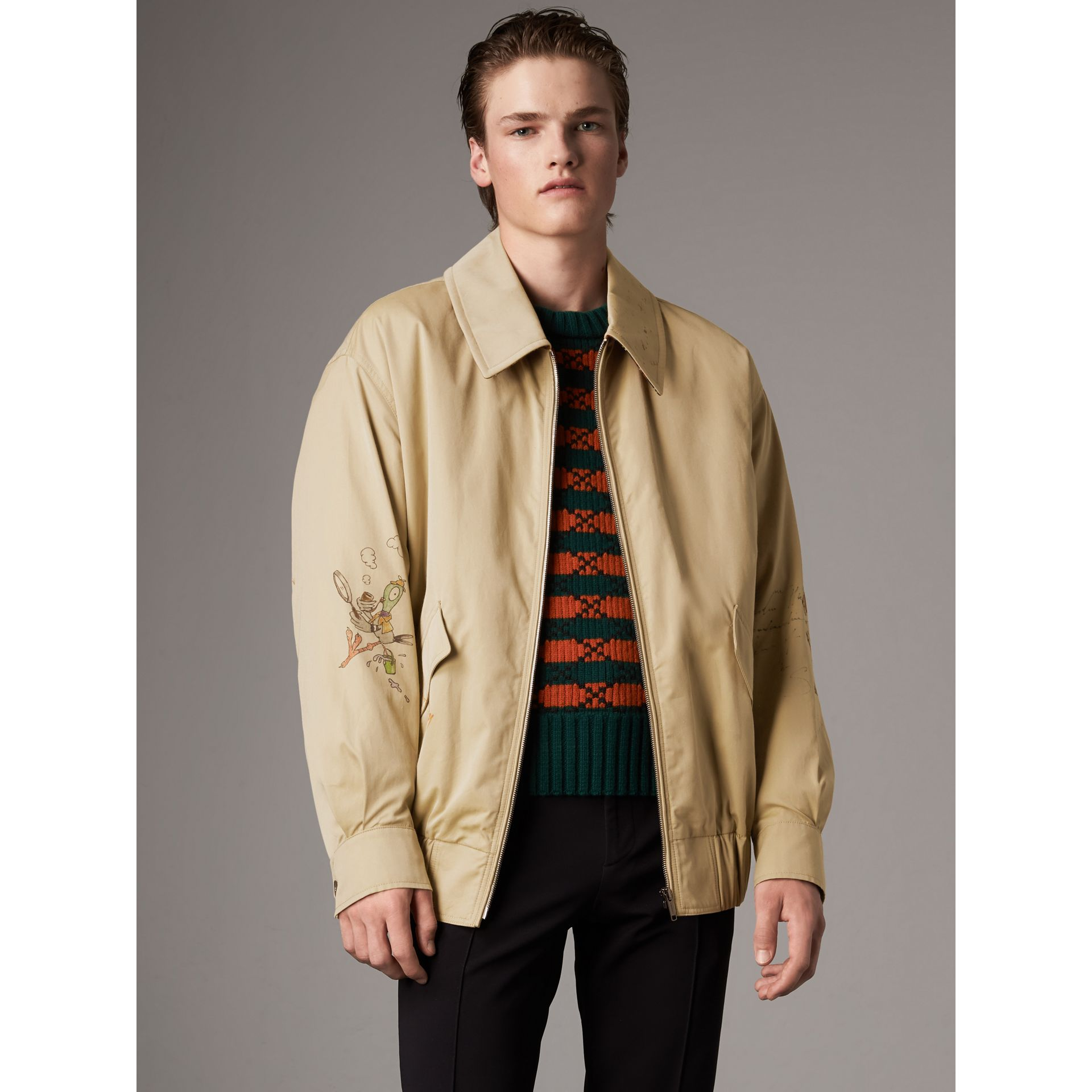 Sketch Print Cotton Gabardine Harrington Jacket in Honey - Men | Burberry - gallery image 5