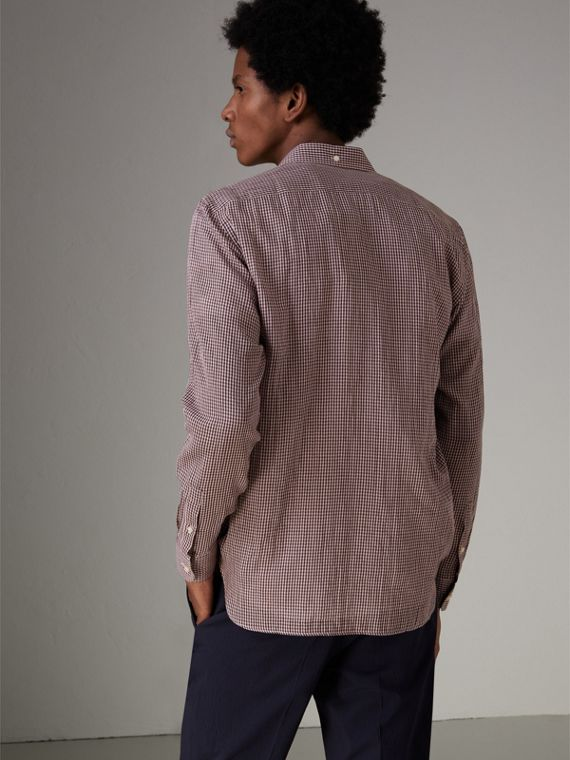 Button-down Collar Gingham Cotton Shirt in Heather Pink - Men | Burberry United Kingdom - cell image 2