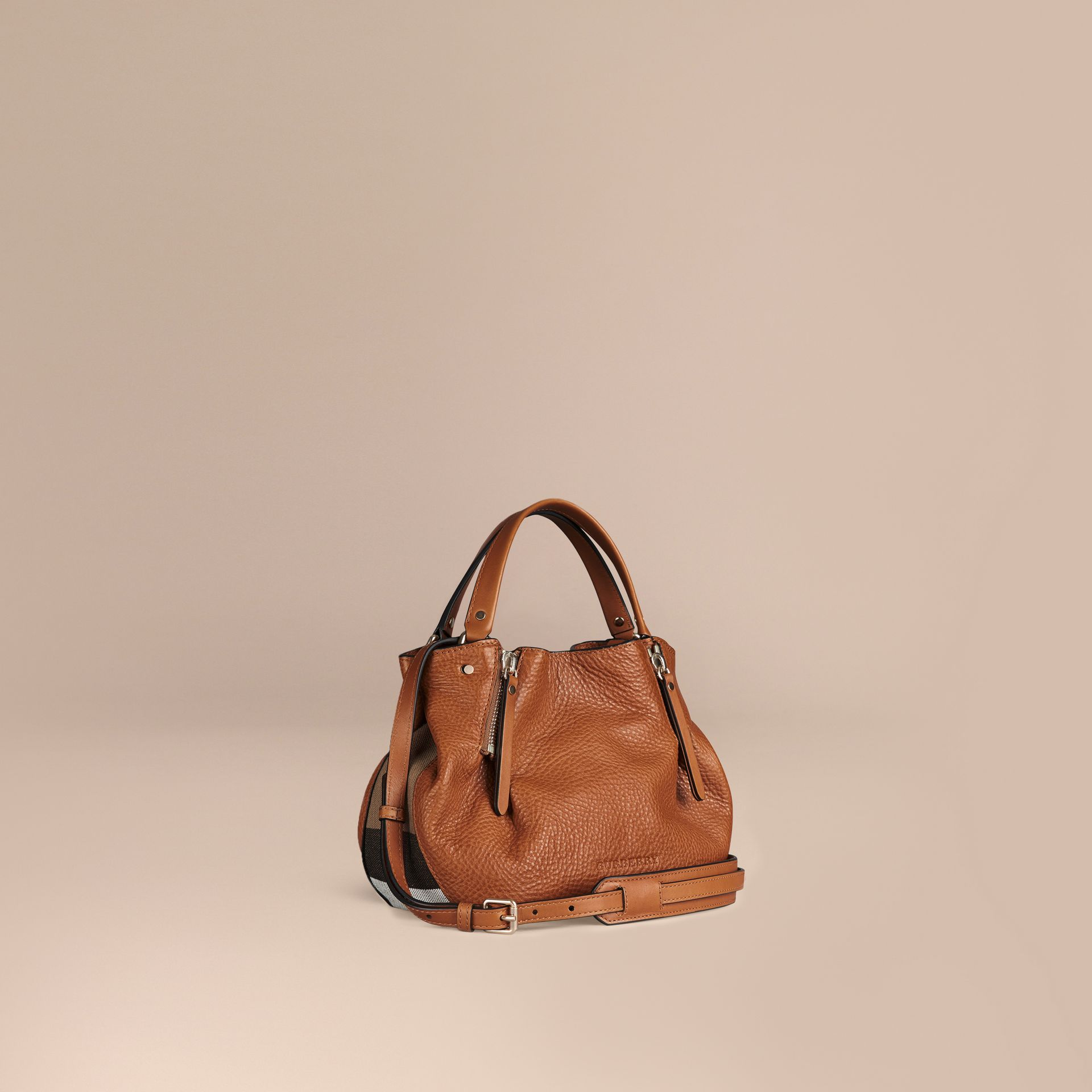 Saddle brown Small Check Detail Leather Tote Bag Saddle Brown - gallery image 1