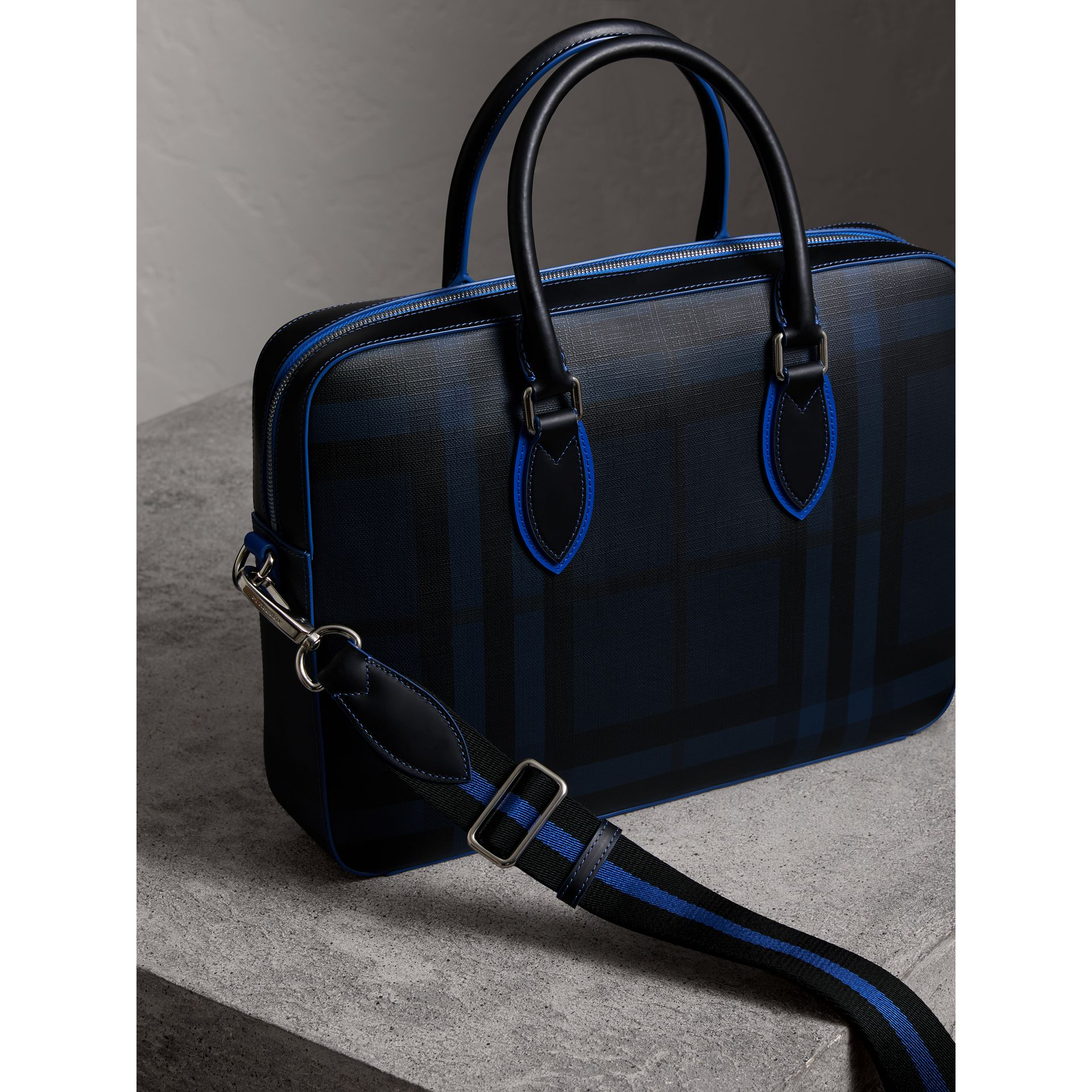Medium Leather Trim London Check Briefcase in Navy/blue - Men | Burberry Hong Kong - gallery image 4