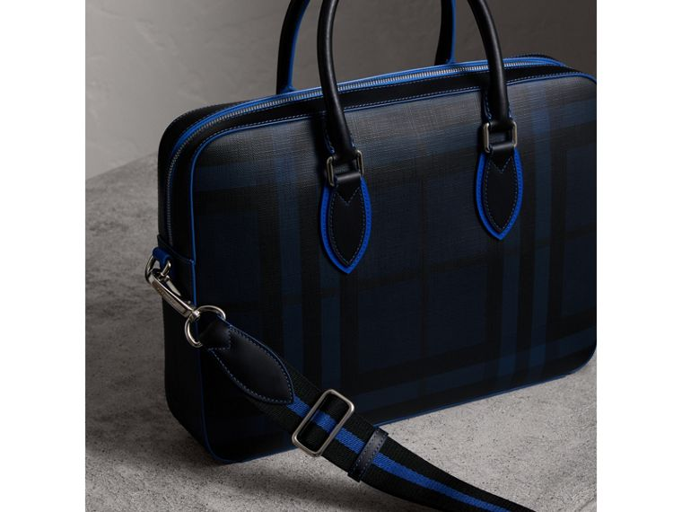 Medium Leather Trim London Check Briefcase in Navy/blue - Men | Burberry - cell image 4