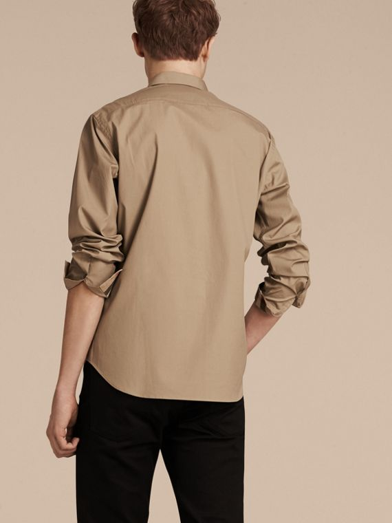 Dark honey Check Detail Stretch Cotton Poplin Shirt Dark Honey - cell image 2